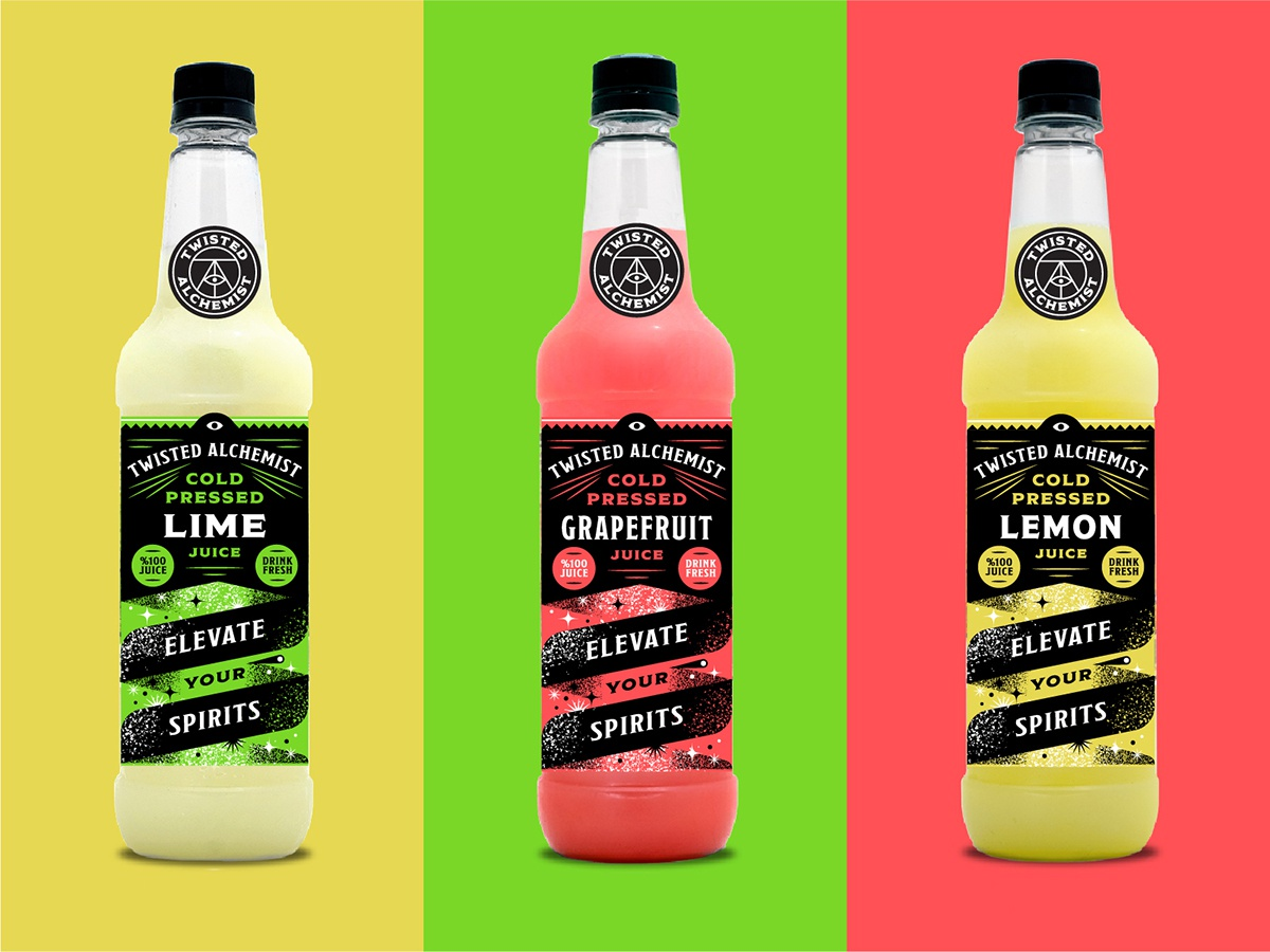 Elevate Your Spirits eye grapefruit lemon lime cold twist branding identity juice bottle texture illustration packaging mixer alcohol fruit garnish drink beverage