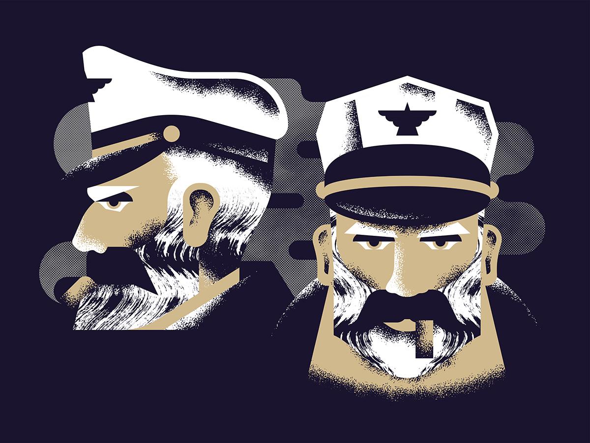 Portrait face portrait military design character motorcycle pilot smoke cigar mustache texture captain illustration