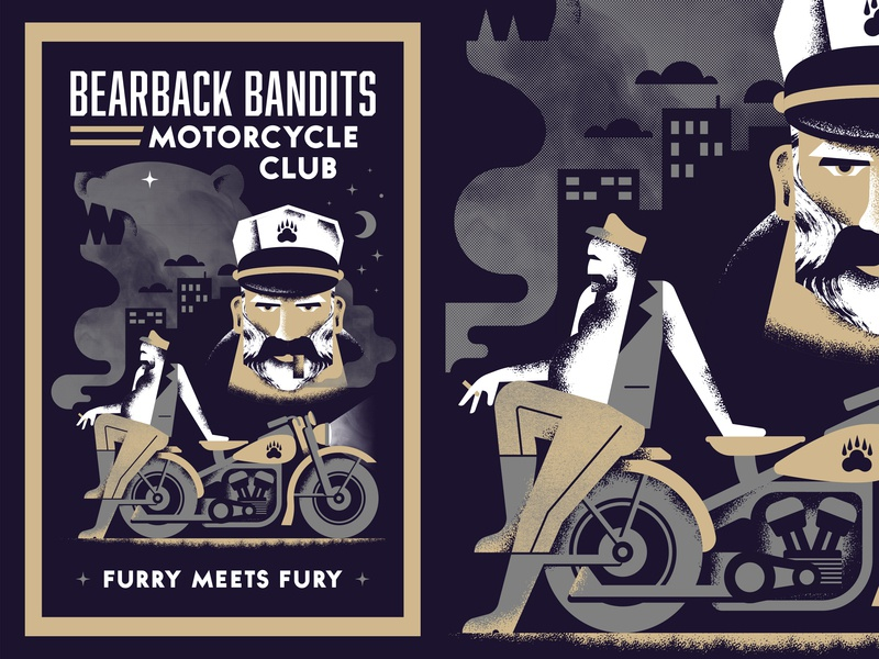 Bearback Bandits illustration poster book cover noir face bear smoke motorcycle bandit club night sky skyline biker cigar ride moon star texture