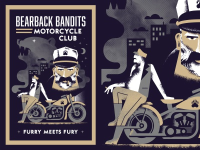 Bearback Bandits illustration poster book cover noir face bear smoke motorcycle bandit club night sky skyline biker cigar ride moon star texture
