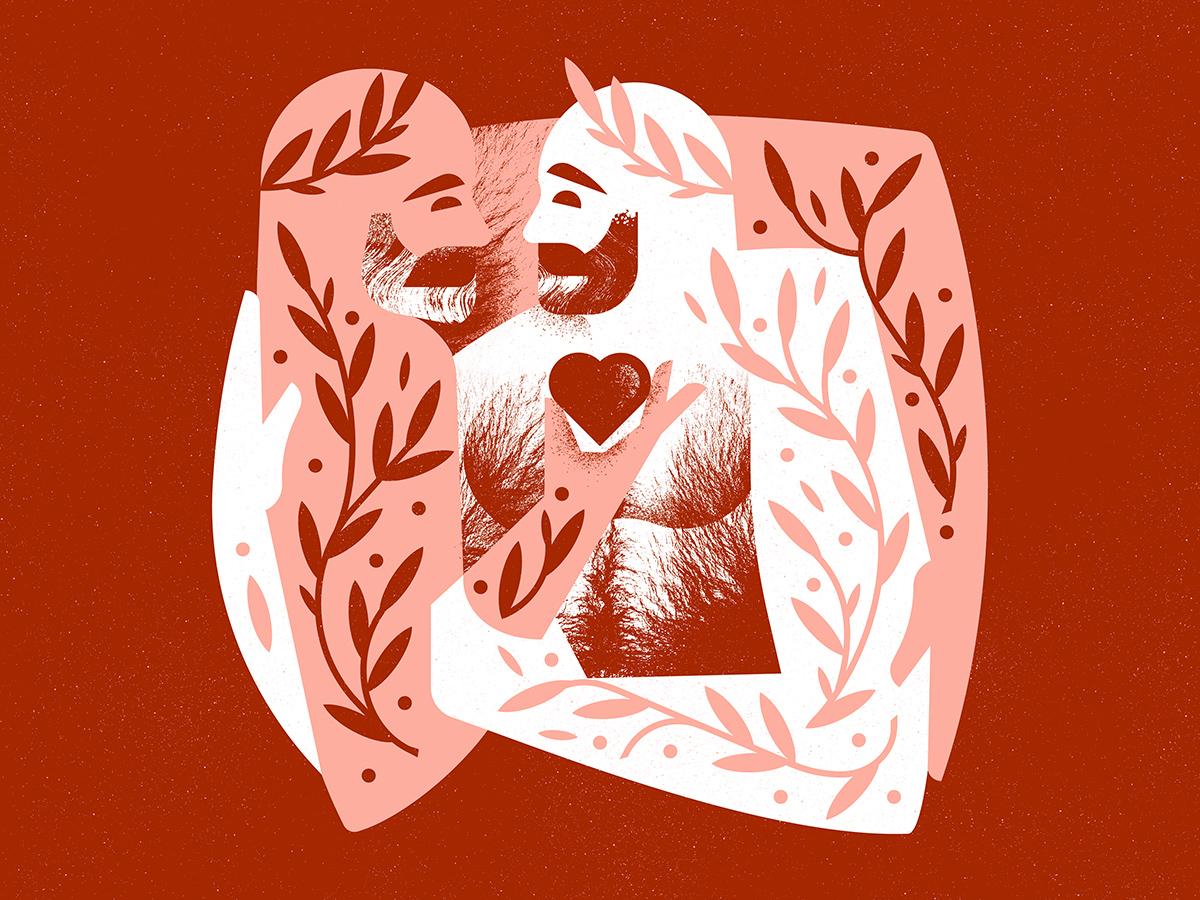 Valentine happy valentine holiday love hug hairy hair texture illustration vector beard mustache gay pride character vine plant