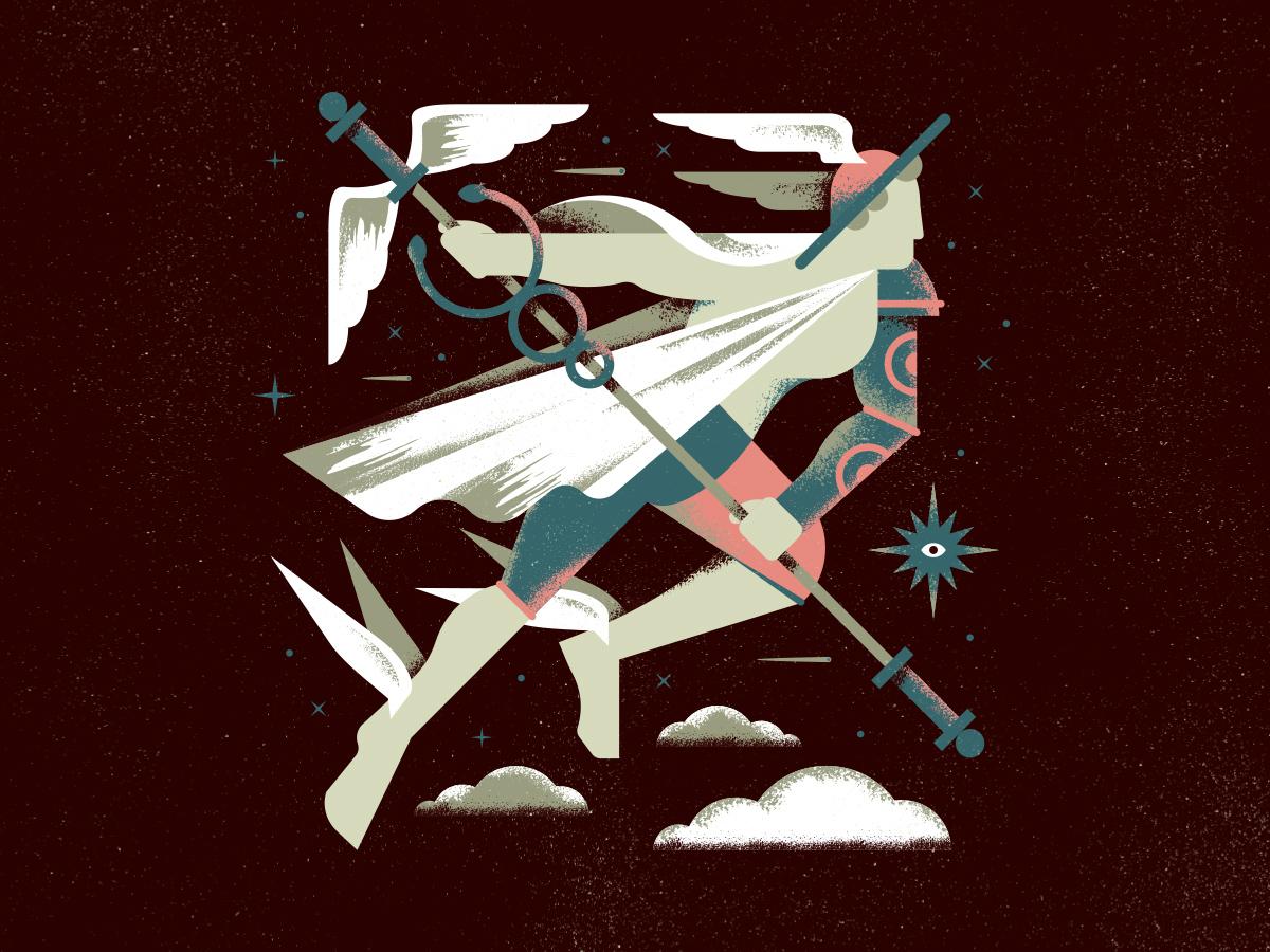 Hermes illustration vector texture grain brush stars comet space eye wings fly snake star god travel shapes greek staff armor clouds