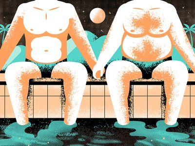 Solo Crowd lgbt gay stars sand tree palm water pool suit swim speedo person people figure character textures grain sky moon texture
