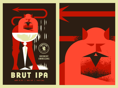 Brut IPA beer champagne drink drinks devil vector glass texture character poster brewery demon mustache retro magic