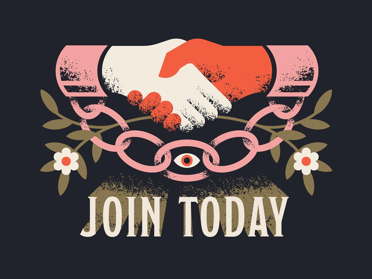 Join Today postcard cult eye agree plant vine flower chain cuff handshake hand