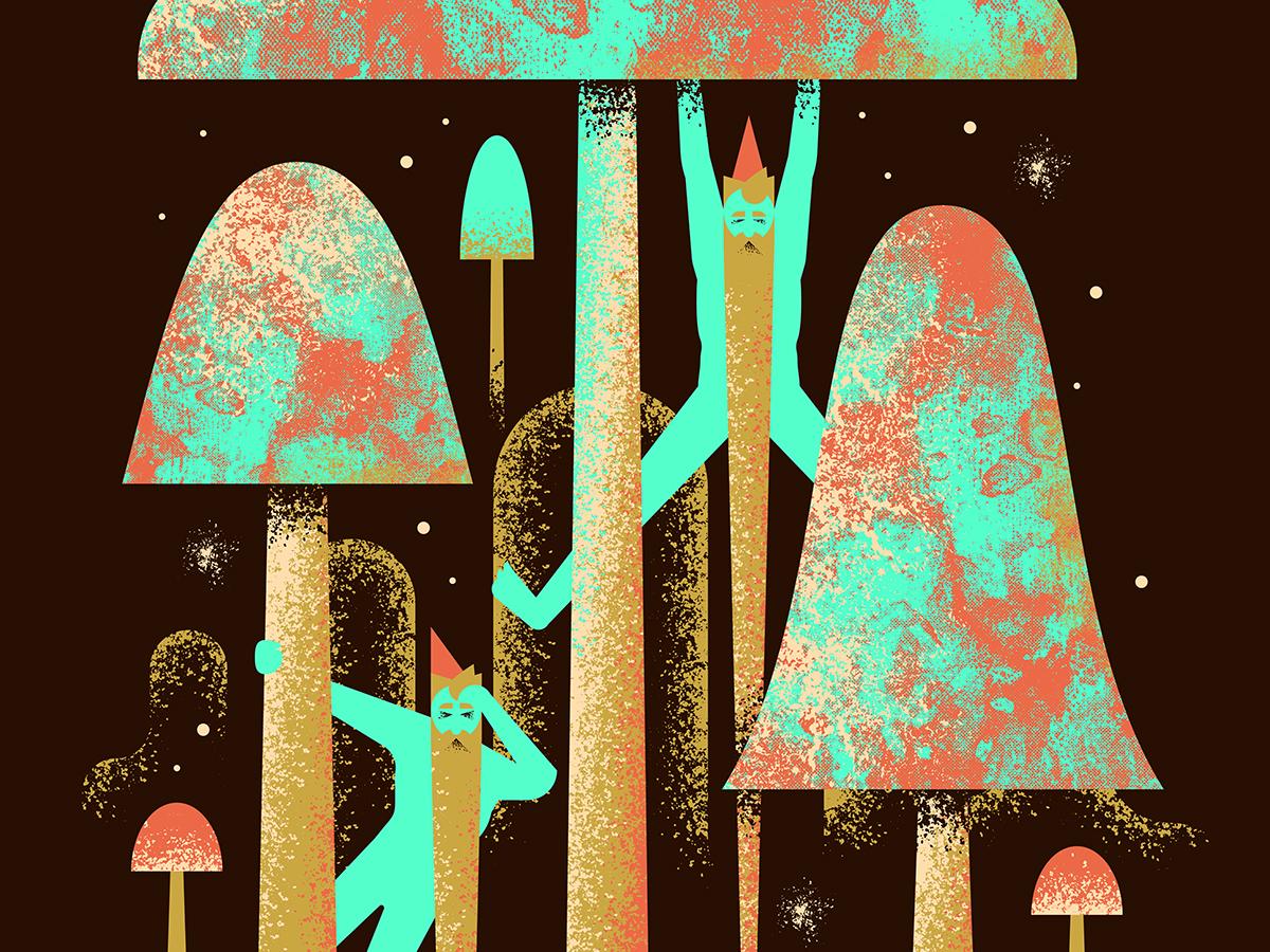YippieFest person character brush texture elf dwarve gnome beard mushroom star night galaxy stars