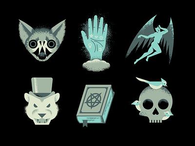 Occult Icons occult cloud book devil satan spooky autumn fall october halloween lion birds bird skull monster vampire psychic reading palm bat