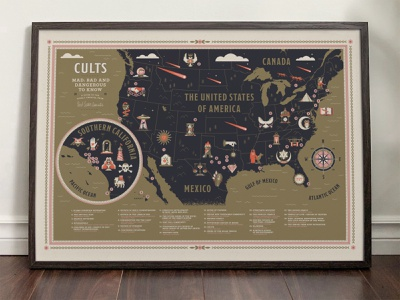 Cults Map Print mexico canada reference guide landscape country ocean gathering design community skull cult interior frame poster picture compass print map