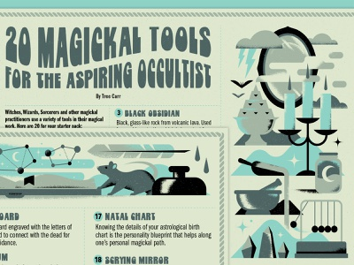Magickal Tools halloween type typography psychedelic witch tool candle rat feather stars space alchemy cloud occult magic witchcraft bat crystal ink