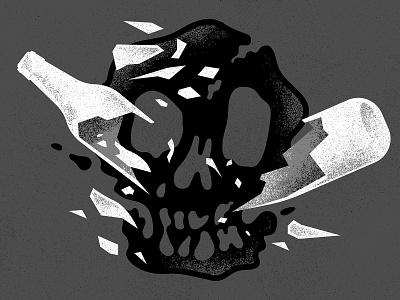 Good Beer Hunting editorial illustration drinks drink spill skull shatter break glass smash splash wire barbed barb claw white bottle can alcohol beer