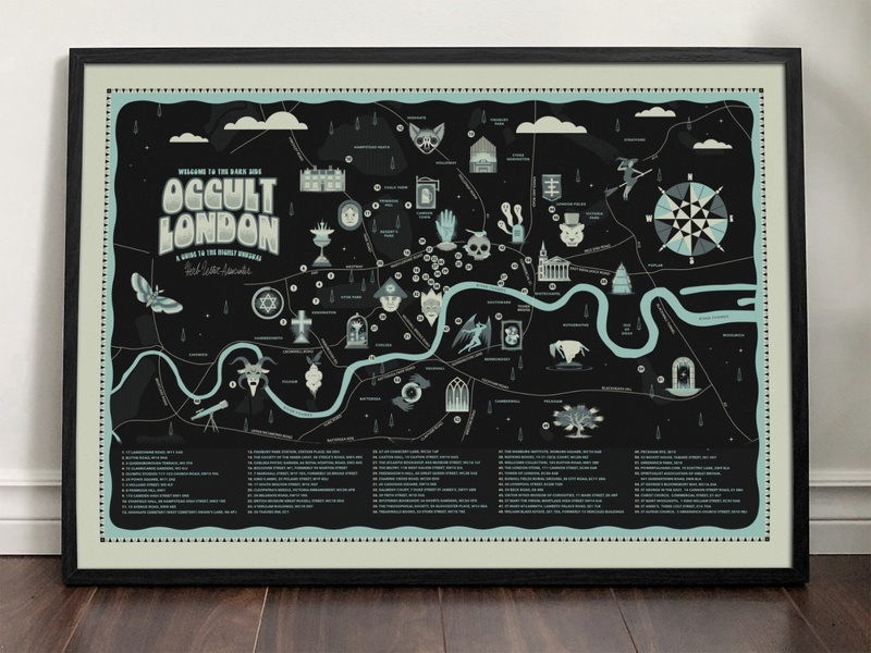 Occult London Map design interior landscape frame grain texture river compass spooky scary cult witch retro typography type print guide illustration london map