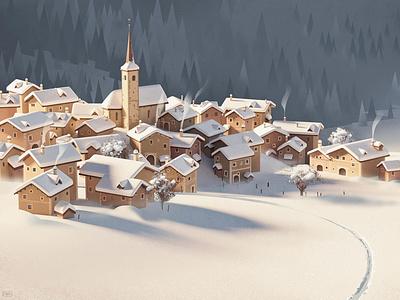 Grisons christmas village winter alps switzerland mountain snow graphic landscape 3d illustration