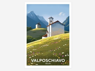 Valposchiavo - Selva poschiavo poster landscape alps switzerland mountain graphic illustration