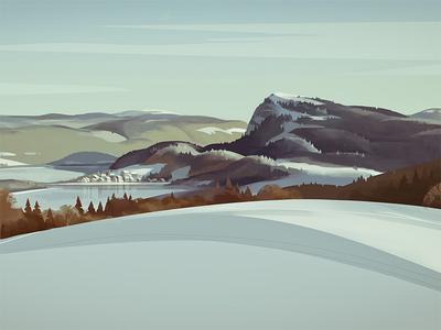 Dent De Vaulion village moutain jura winter snow graphic landscape