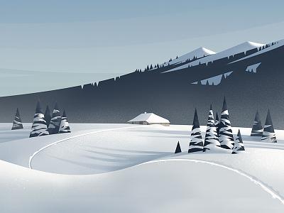 Mont Tendre landscape jura snow illustration graphic