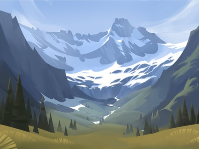 La Fouly vector drawing illustration alps mountain switzerland graphic painting