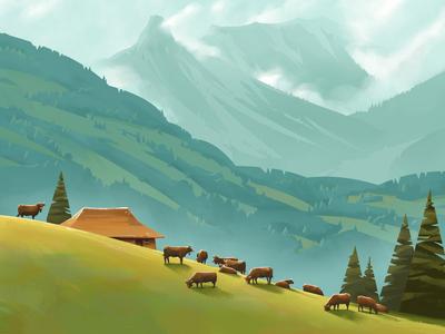 Transhelvetica landscape moutains poster alps illustration