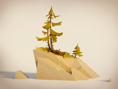 Tree study rocks tree illustration 3d