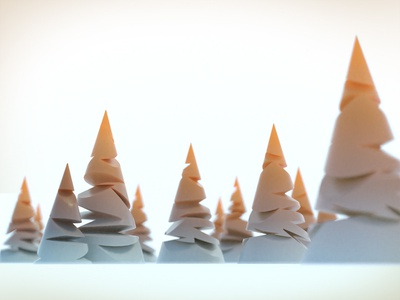 Pine trees at sunset sunset graphic lowpoly stylised blender 3d illustration trees 3d