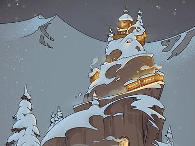 Holiday card trees train christmas mountain snow illustration