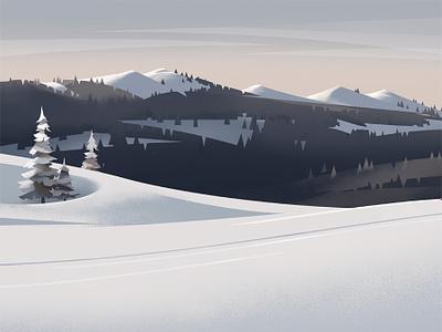 Mont Tendre switzerland winter mountain landscape jura tree snow graphic illustration