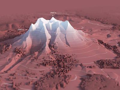 3D Mountain contour line forest landscape map lowpoly mountain 3d