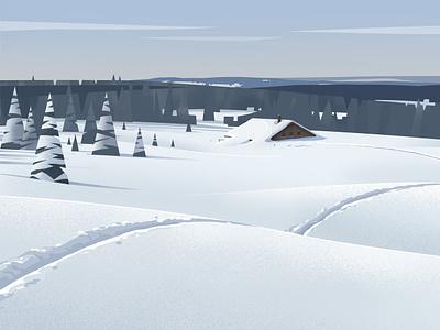 Jura curves vector landscape stylised pine tree winter snow mountain illustration jura