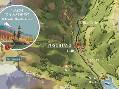 Valposchiavo - Illustrated map illustration illustrated map swiss alps switzerland valposchiavo mountains tourism map illustration 3d map 3d map design map
