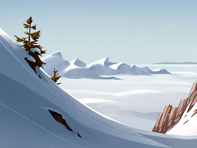 Rochers de Naye winter alps drawing landscape switzerland snow illustration mountain