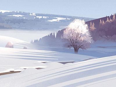 Winter light morning drawing tree switzerland light mountain digitalpainting illustration snow winter