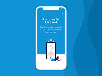 Invoicing app | You've been paid mobile app mobile flat design illustration digital illustration invoicing app success ui design ux design app design design ui