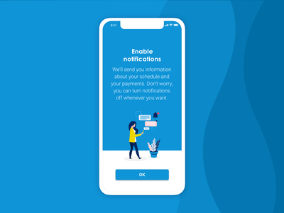 Invoicing app | Enable notifications mobile app ux design app design invoicing app ui design vector illustration ui app illustration flat design illustration digital illustration