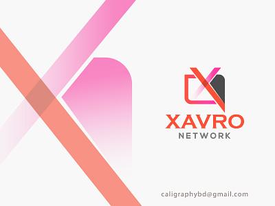 Xavro Network best logo xd design network logo gradient color x logo icon typography art illustration branding graphics logo
