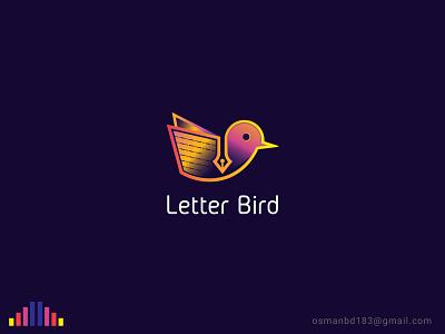 Letter Bird Logo animal logo letter logo cute art gradient icon gradient color bird icon bird logo icon motion art illustration branding logo