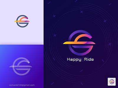 Happy Ride Apps Icon symbol modern logo logos logo mark logo illustration colorful blue branding brand conceptual logo logo grid best icon logo idea car logo apps icon ios