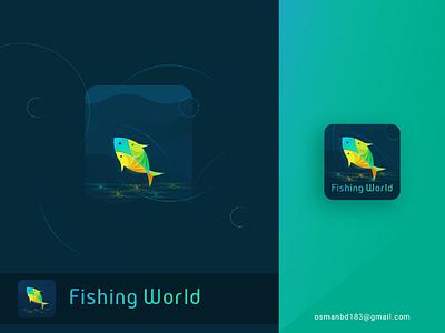 Fishing World Apps Icon popular logos best logos logo concept logo idea fishing world branding brand icon fish logos fishing logo fishing icon apps icon