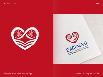 EACIACVD Cardiology Medical Logo typography graphics health medical book design medical book logo homepage medical identity icon branding logo idea illustration medical icons heart icon heart logo medical logo