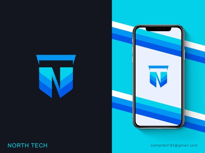 North Tech Logo Design template type tn logo nt logo n logo typography overlapping logo overlapping logo idea illustration branding tech branding logo icon apps icon tech icon techdesign techno
