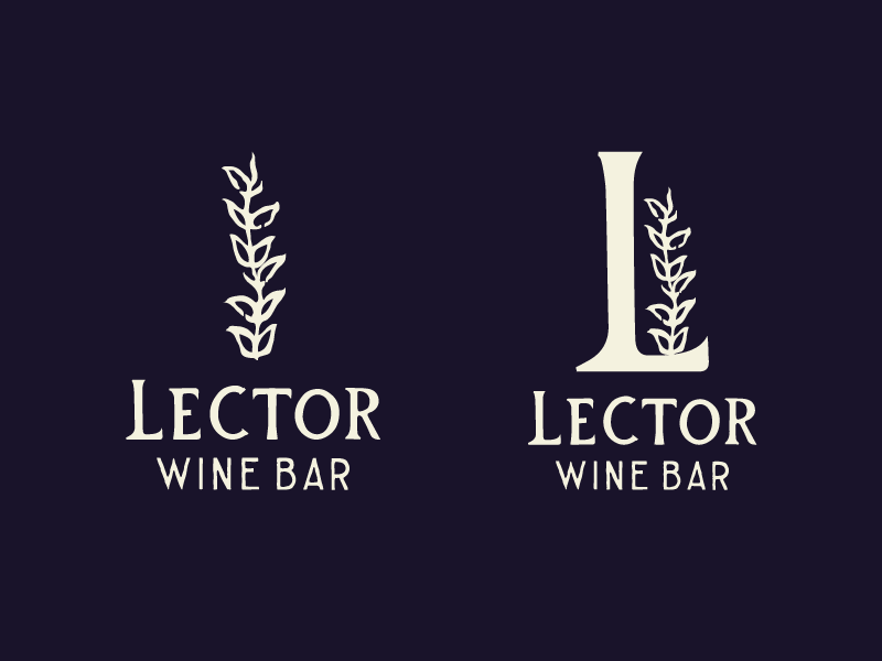Lector Wine Bar illustration lettering logo branding