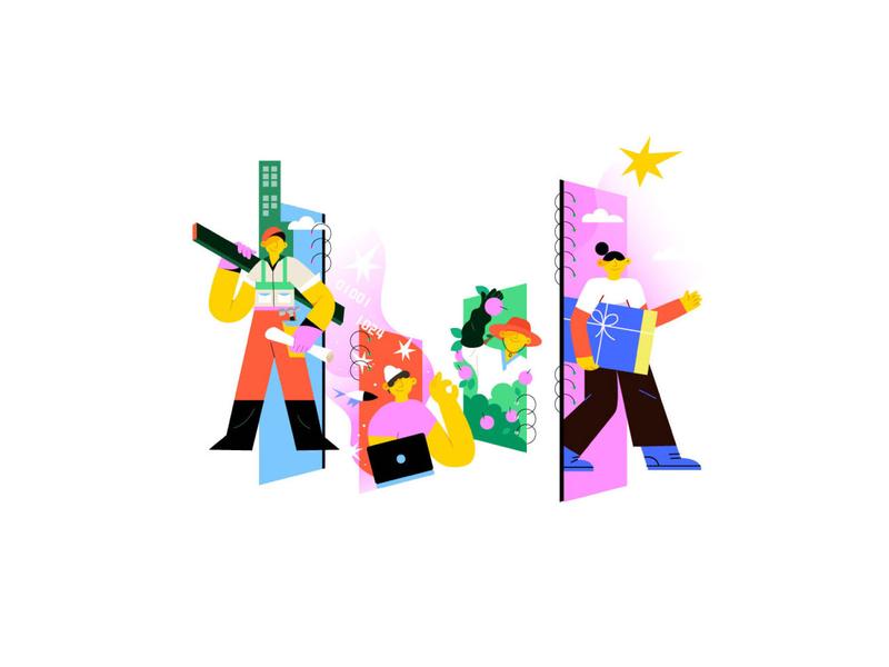 字节跳动logo演绎|飞机稿 贴纸设计 flat illustration design