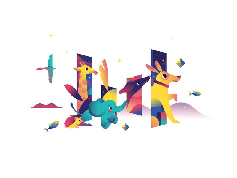 字节跳动logo演绎|动物篇章 贴纸设计 flat illustration design