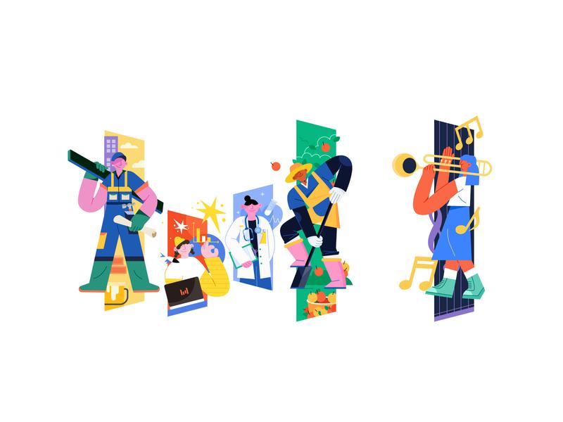 字节跳动logo演绎|职业篇章 贴纸设计 flat illustration design