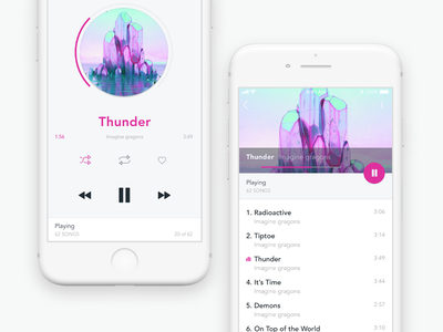 Daily UI #009 Music Player playlist mobile ui iphone ios day9 dailyui music player