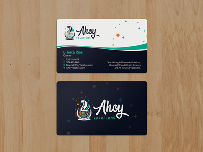Ahoy Business Card logo design blue clean brand wave curve black and white professional corporate colorful visiting card creative business card