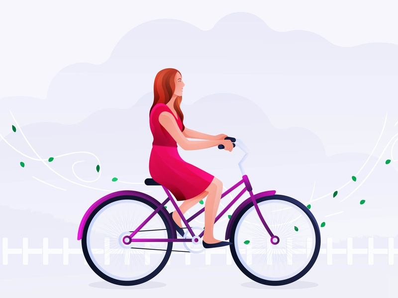 Riding bicycle clean bicycle art vintage vector character minimal travel design illustration