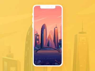 The scene of city sunset