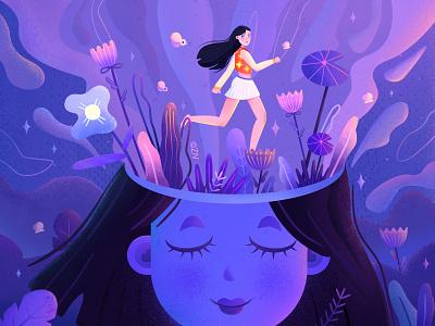 gril dreams running purple painting fantasy flowers dream girl ui design flat design illustraion concept design