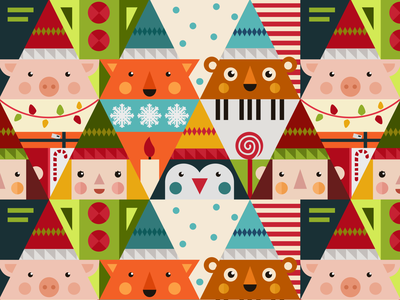 Merry Dribbble Pattern piggy holiday pig design pattern design newyearpattern pattern flat  design new year 2019 new year newyear christmaspattern christmas pattern christmas tree christmastree christmas card christmas merry christmas merrychristmas merry