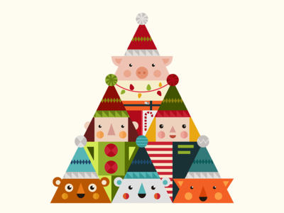 Merry Dribbble Tree christmas card holiday cards holiday gift holiday animals piggy pig new year 2019 newyear 2019 new year geometric art geometric illustration flat  design christmas tree christmastree merry christmas merrychristmas merry christmas