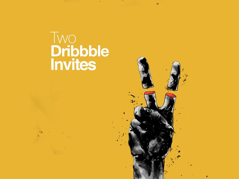 2 Dribbble invites 4 U 4 U 4 U give away scene character illustration dribbble invitation dribbble invite dribble invites invites